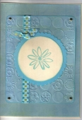 Blue Flower Card using new CB BloomDot Embossing Folder by