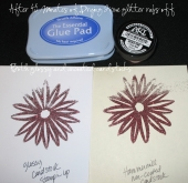 glue pad with glittered images by