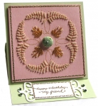 Stitched and beaded easel birthday card... by