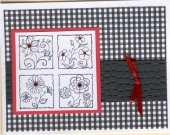Flower Square and Gingham Card by