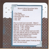 Chocolate Cake Recipe Card by